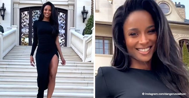 Russell Wilson 'can't believe his eyes' at the sight of wife Ciara in a black dress with slit (video)