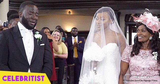 Groom breaks down in tears when he sees his beautiful bride in viral wedding video