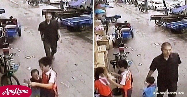 Boy notices man snatching little brother and quickly springs into action (video)
