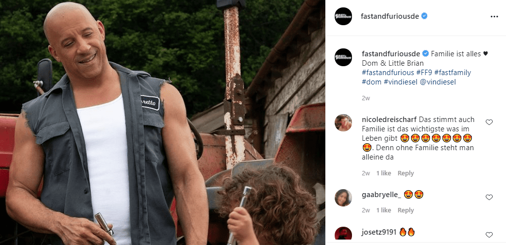 """Vin Diesel's character, Dominic Toretto, with his onscreen son on """"F9."""" Image shared on May 26, 2021   Photo: Instagram/@fastandfuriousde"""