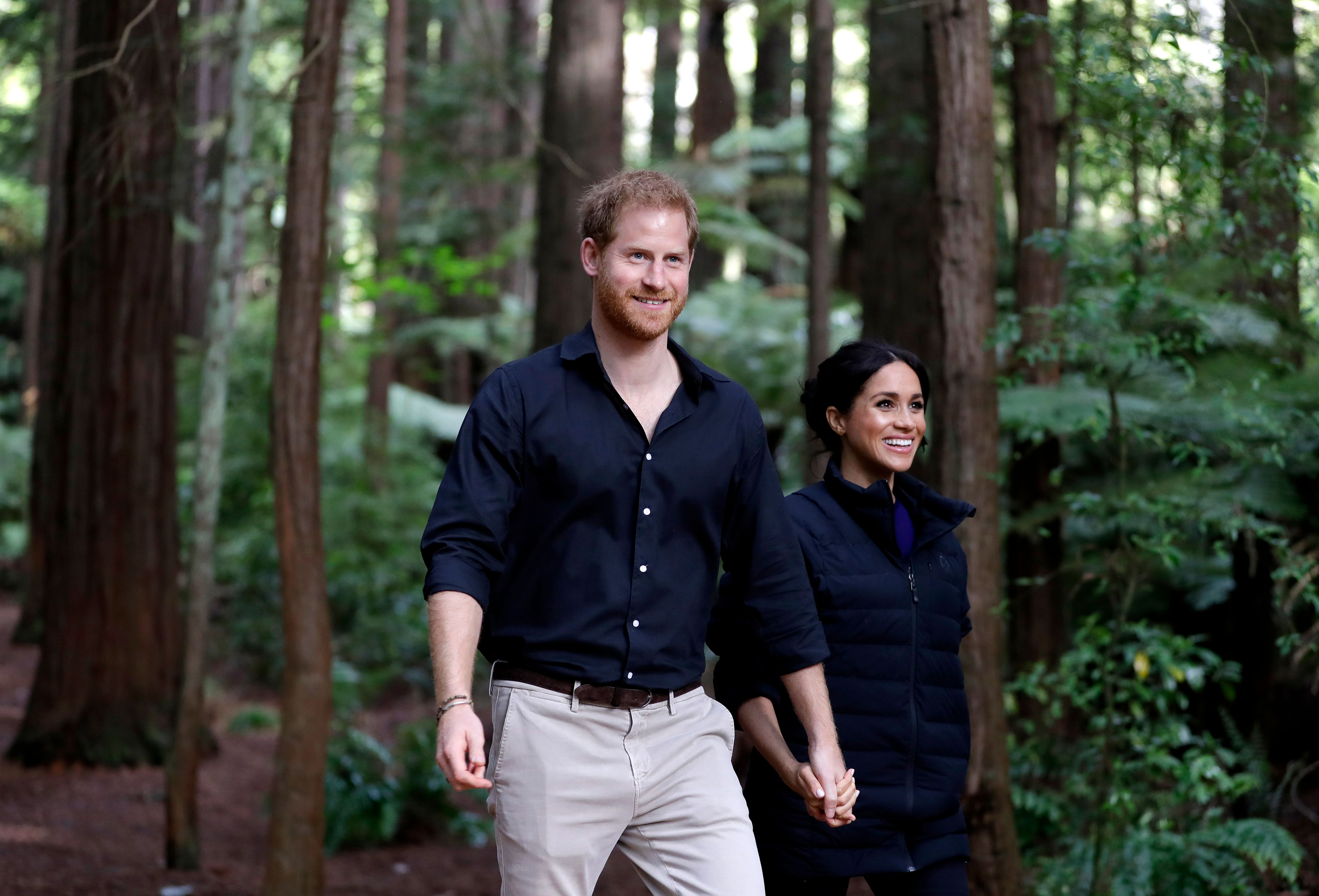 The Duke oand Duchess of Sussex at the Redwoods Tree Walk in October 31, 2018 in Rotorua, New Zealand | Source: Getty Images