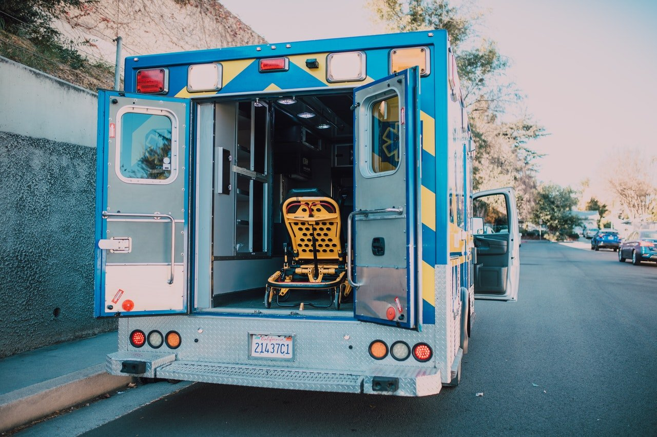 Ambulance parked with doors open | Source: Pexels