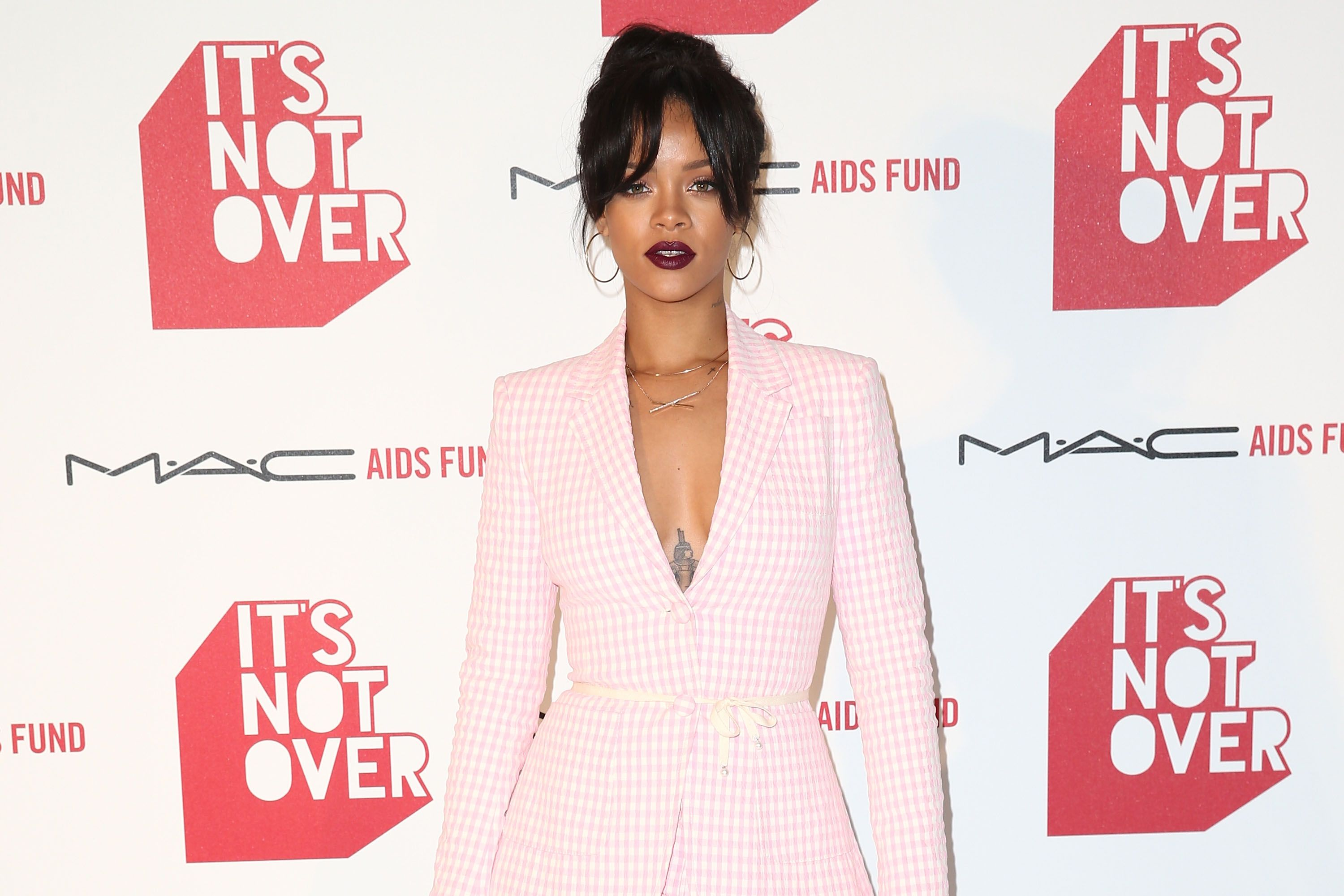 Rihanna during the premiere of 'It's Not Over' presented by MAC Cosmetics and MAC AIDS Fund at Quixote Studios on November 18, 2014. | Photo: Getty Images