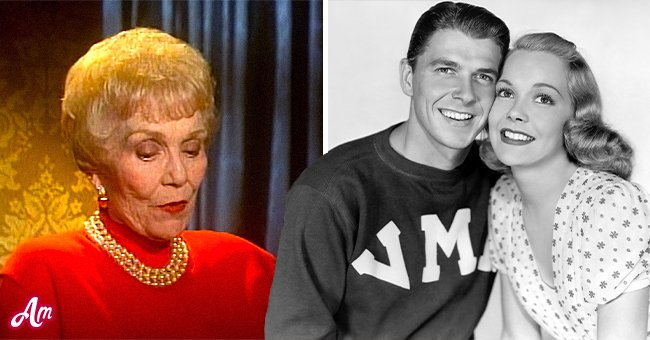 """Ronald Reagan and his first wife Jane Wyman in 1938's film """"Brother Rat"""" and Jane in an interview with TCM   Photo: Getty Images - YouTube/Turner Classic Movies"""