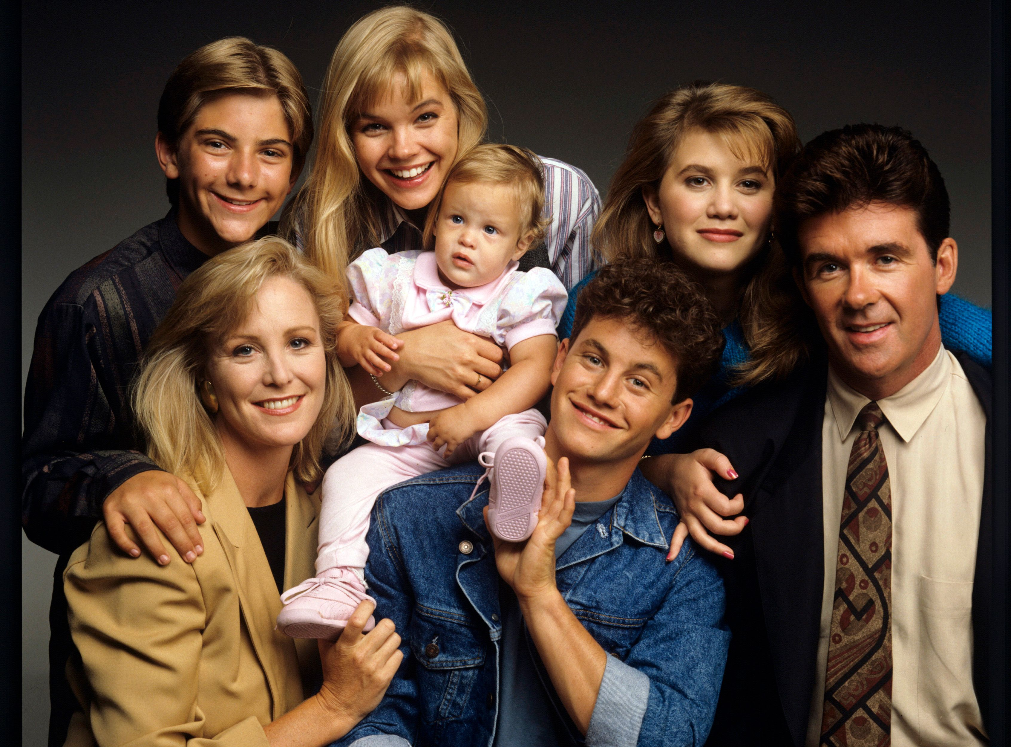"""""""Growing Pains"""" photoshoot on June 27, 1989, with Jeremy Miller,  Joanna Kerns, Julie McCullough, Kelsey or Kirsten Dohring,  Kirk Cameron, Tracey Gold, and Alan Thicke 