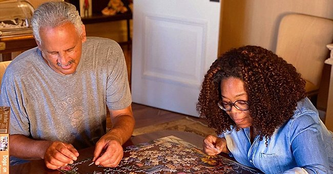 Oprah Winfrey and Her Boyfriend Stedman Graham Do Puzzle Together during Quarantine