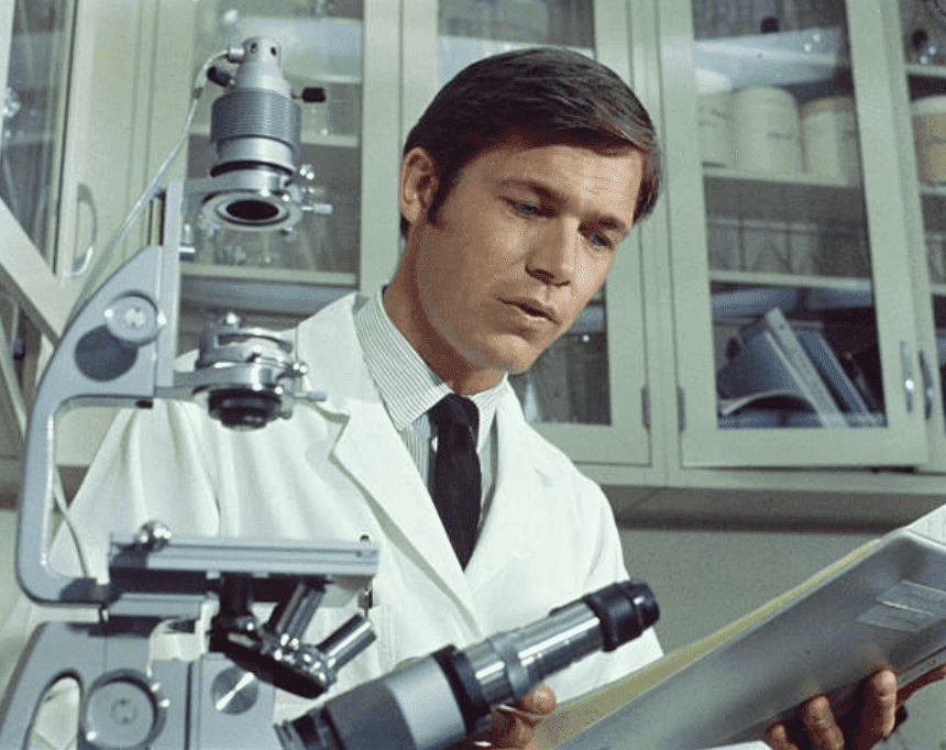 "Chad Everett poses as Dr. Joe Gannon during a scene for the television series ""Medical Center,"" on January 1, 1970 