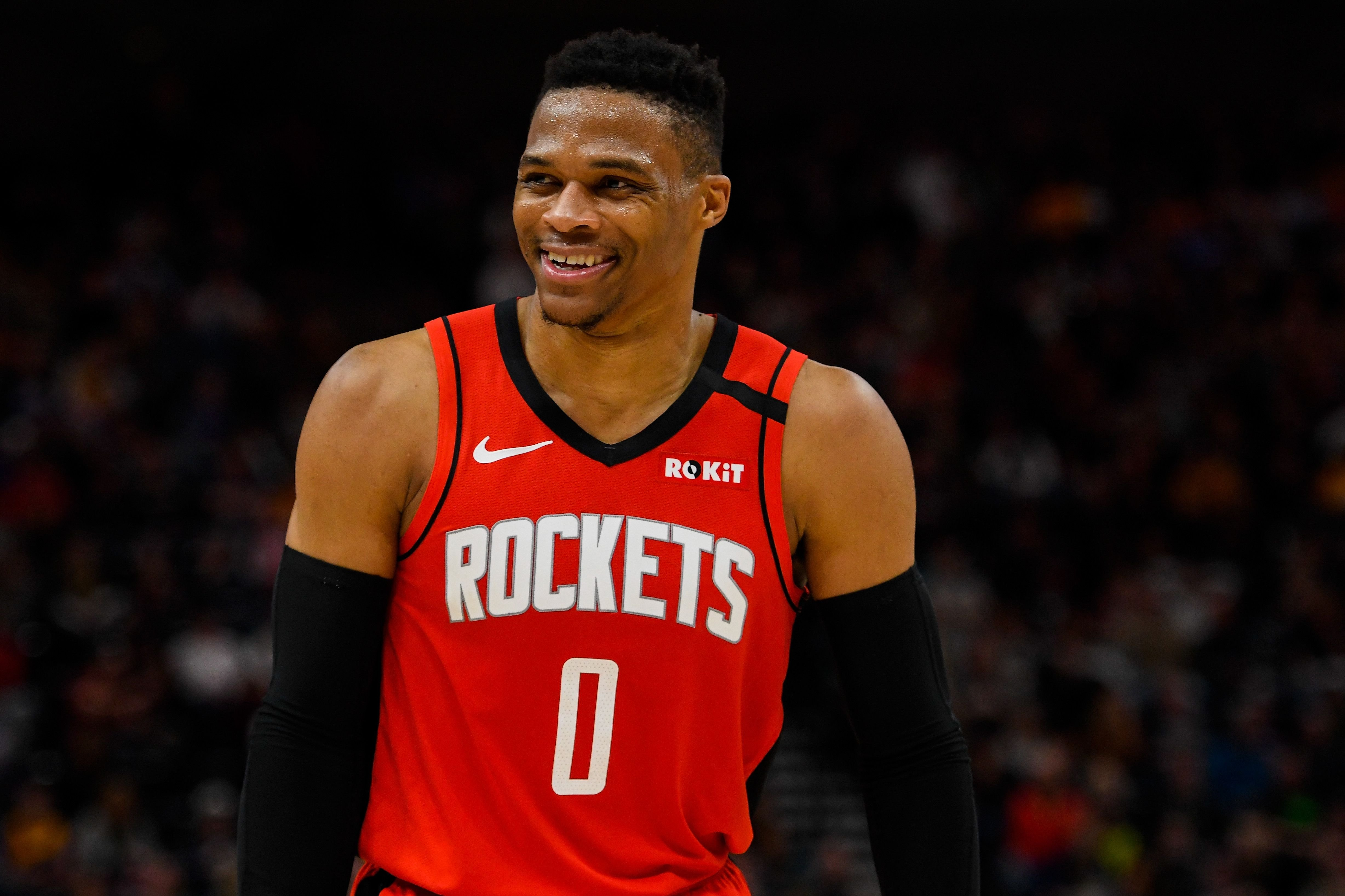 Russell Westbrook #0 of the Houston Rockets looks on during a game against the Utah Jazz at Vivint Smart Home Arena on February 22, 2020 in Salt Lake City, Utah.   Source: Getty Images