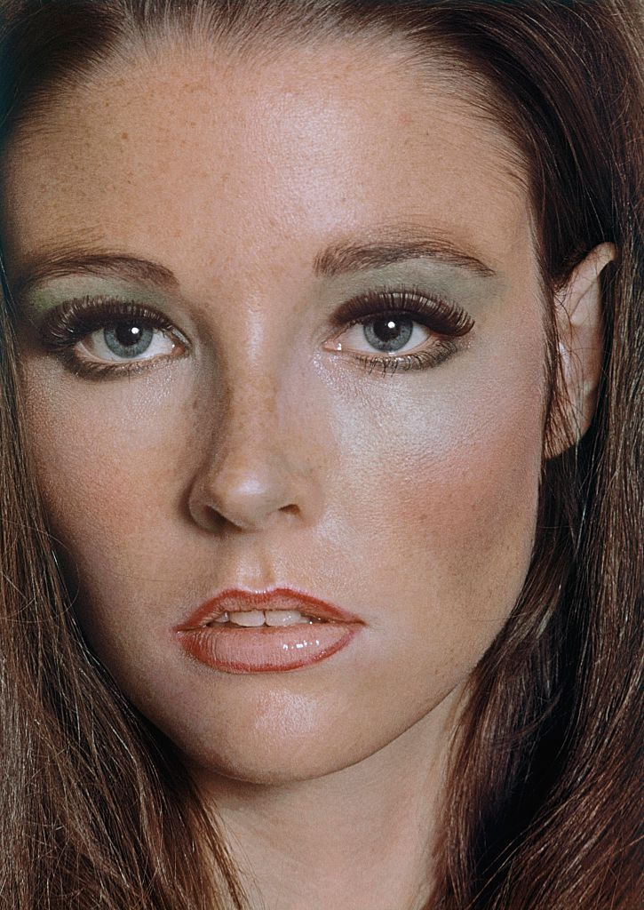 Headshot of model wearing heavy makeup from Glamour magazine, 1968. | Source: Getty Images