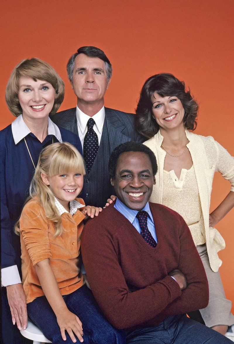 """Caroline McWilliams (white clothes) and the cast of """"Benson"""" on September 13, 1979 