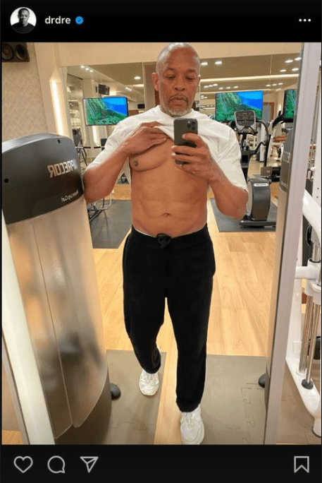 Dr. Dre showing off his abs on his IG page.   Photo: Instagram.com/drdre