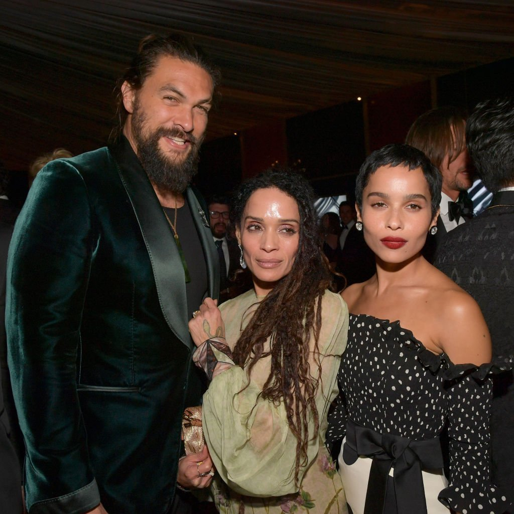 Jason Momoa and Lisa Bonet with Lisa's daughter with Lenny Kravitz, Zoe Kravitz at the 2020 InStyle and Warner Bros. Golden Globes after-party on January 5, 2020. | Photo: Getty Images