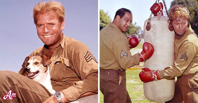 """Vic Morrow on the set of """"Hear No Evil"""" in 1966. Second photo: Vic Morrow and a coactor on the set of """"Masquerade"""" in 1963   Source: Getty Images"""