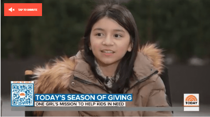 Lily Bonacasa in an interview for her toy non-profit this December.  Photo: Today