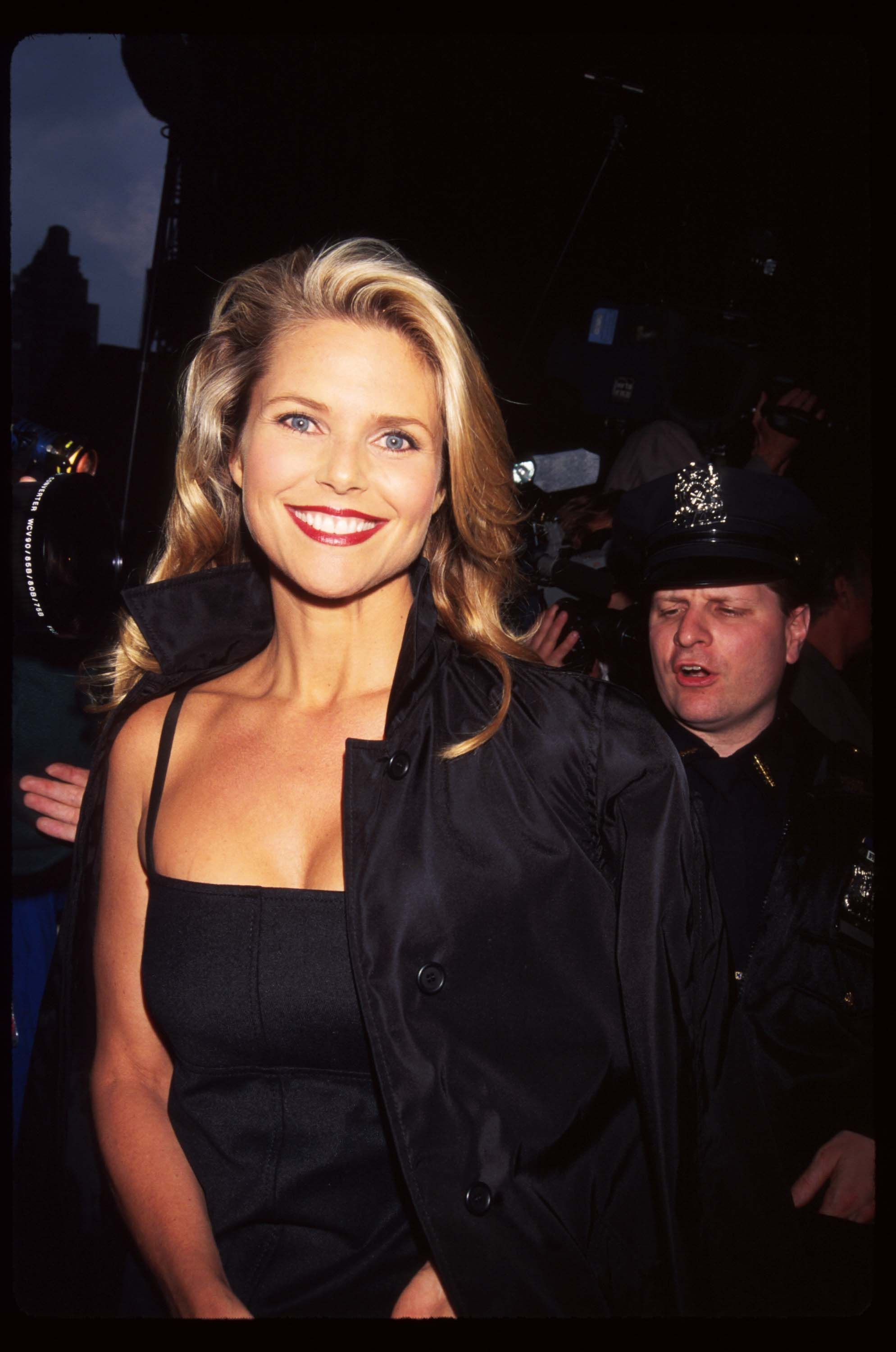 "Christie Brinkley attends the opening night of ""Rent"" April 29, 1996 in New York City. 