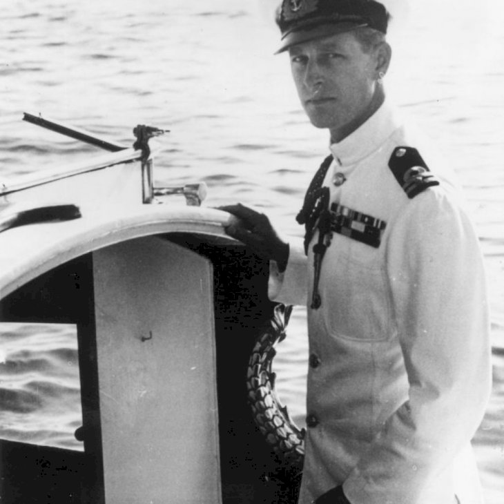 20th October 1949: Prince Philip, Duke of Edinburgh in naval uniform on a boat in Malta. (Photo by Keystone/Getty Images)