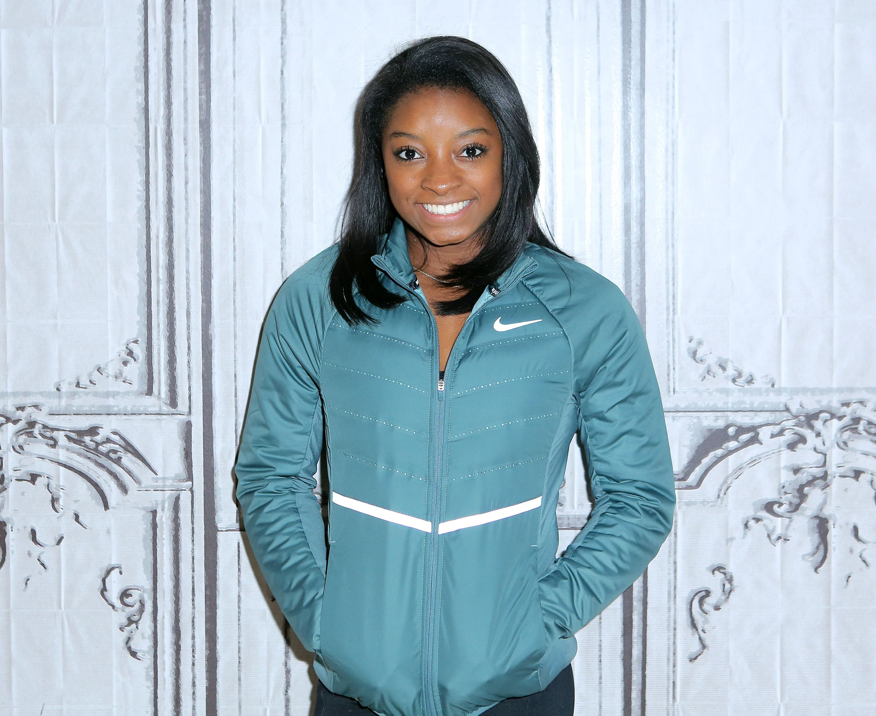 """Simone Biles appears to promote """"Courage To Soar"""" during the AOL BUILD Series at AOL HQ on November 16, 2016 in New York City 