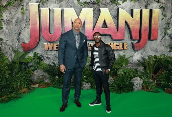 Dwayne Johnson and Kevin Hart attend the UK premiere of 'Jumanji: Welcome To The Jungle' at Vue West End | Photo: Getty Images