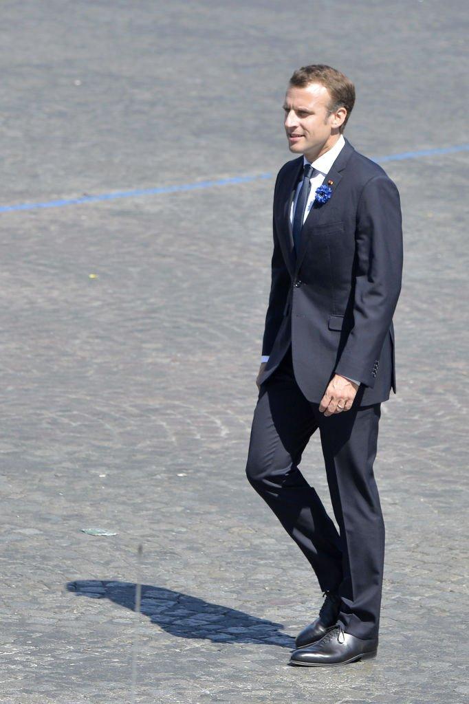 Emmanuel Macron au 73ème anniversaire de la fin de la II guerre mondiale le 8 mai 2018 à Paris. | Photo : Getty Images
