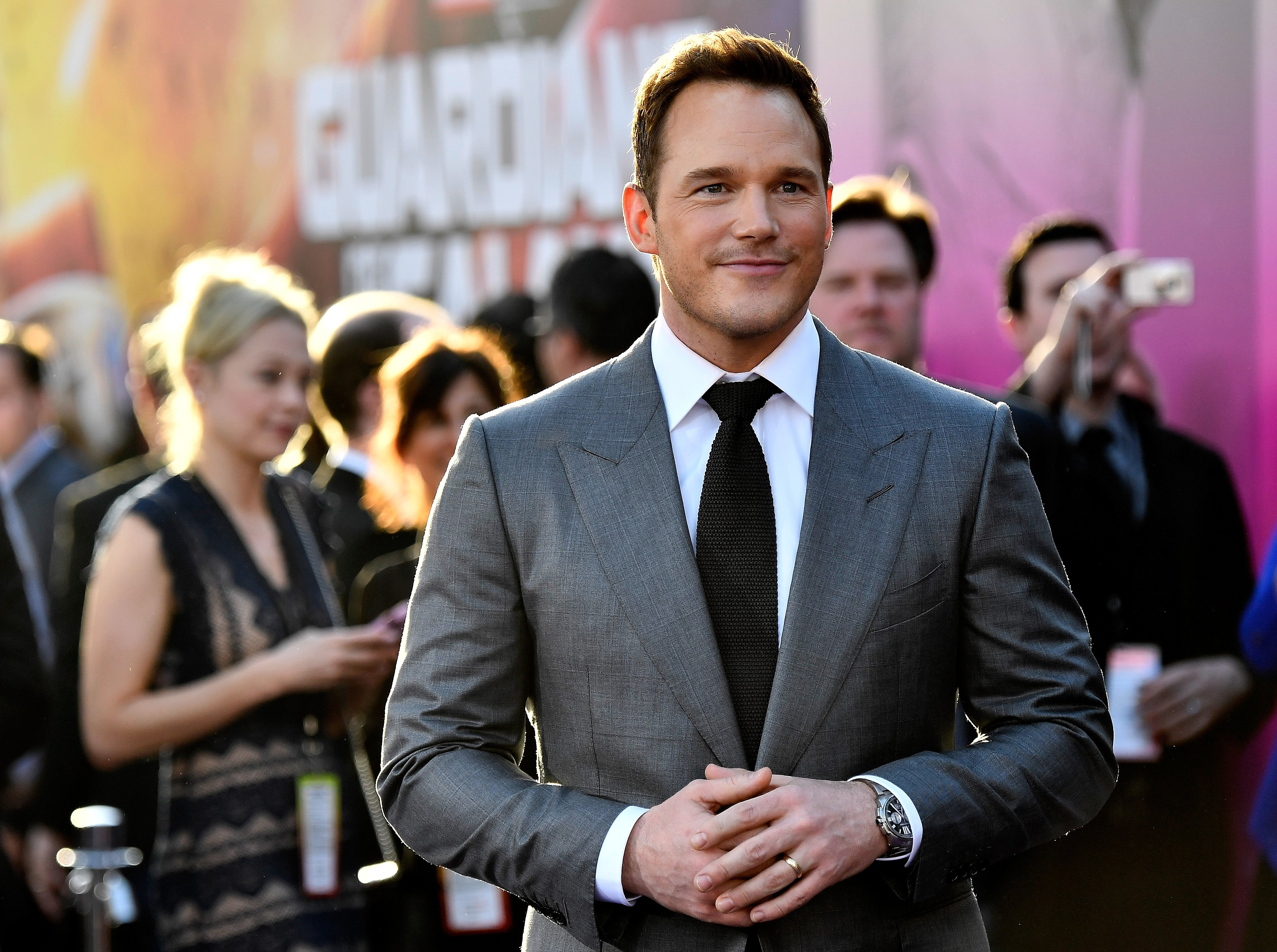 """Chris Pratt at the premiere of Disney and Marvel's """"Guardians of the Galaxy Vol. 2""""  on April 19, 2017 in Hollywood, California. 