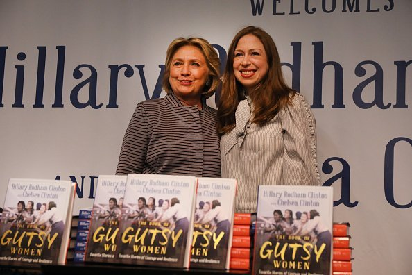 """Chelsea and Hillary Clinton at the signing of thier book """"The Book of Gutsy Women"""" on October 03, 2019 
