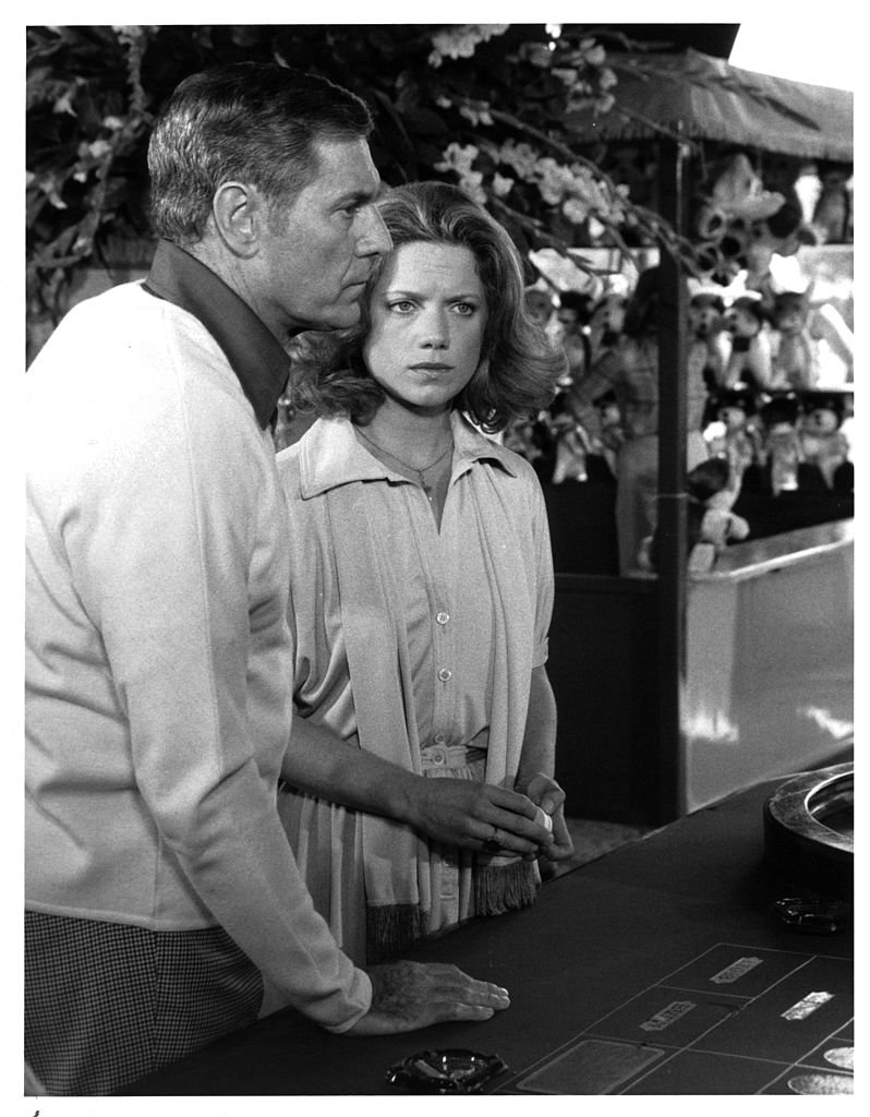 "James Franciscus and actress Gretchen Corbett on set of the movie ""Secrets of Three Hungry Wives"" in 1978 