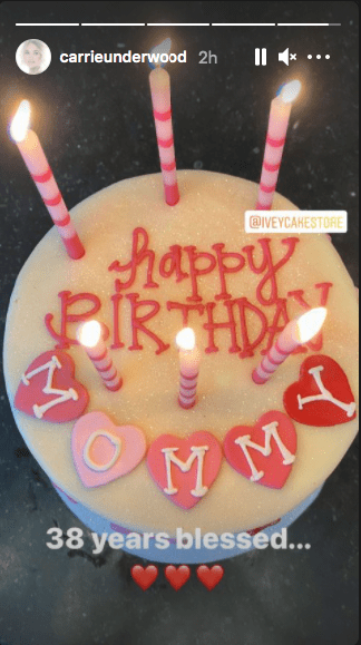 Lovely pink and white birthday cake Carrie Underwood received on her birthday | Photo: Instagram / carrieunderwood