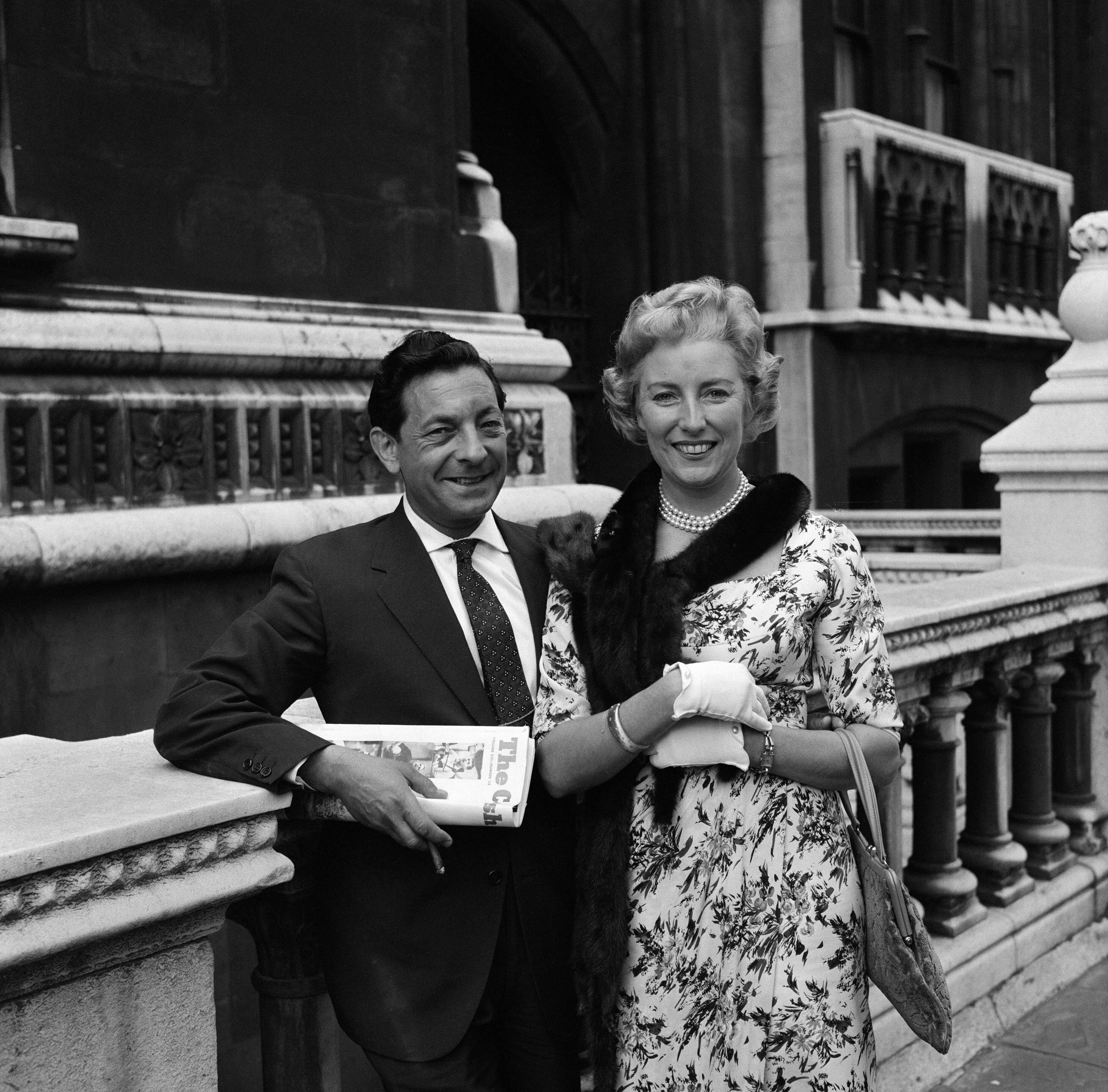 Vera Lynn and her husband Harry Lewis pictured after she was given judgement in a music copyright on May 31, 1960.   Source: Getty Images