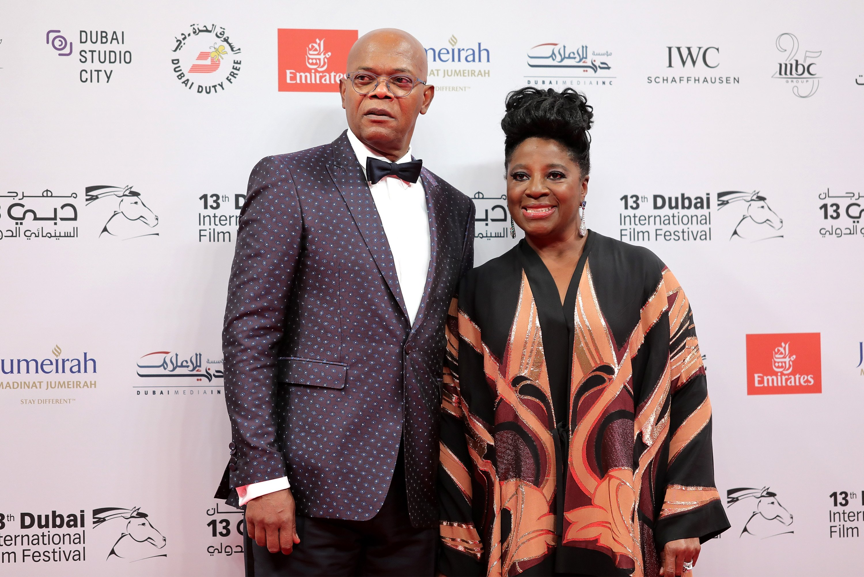 Samuel L Jackson with his wife LaTanya Richardson attend the 13th annual Dubai International Film Festival held at the Madinat Jumeriah Complex on December 7, 2016 in Dubai, United Arab Emirates. | Source: Getty Images.