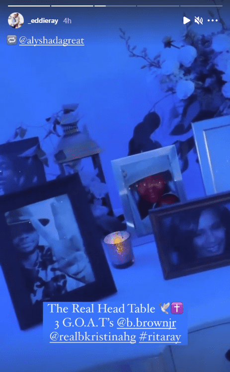 La'Princia paid homage to her deceased siblings Bobby Jr and Bobbi Kristina with a decorated table. | Photo: Instagram/_eddieray