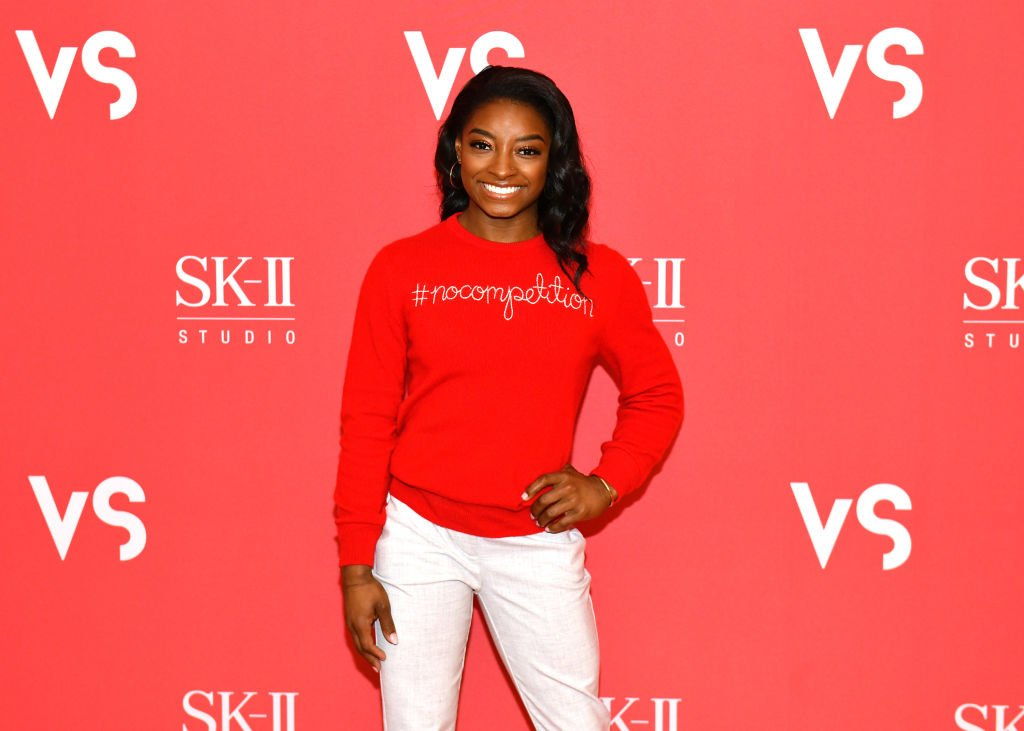 "Simone Biles at an appearance to reveal the teaser film For ""Beauty Is #NOCOMPETITION"" at Crosby Street Hotel on March 04, 2020. 