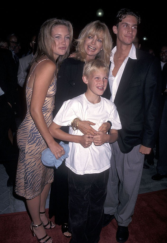 """Goldie Hawn poses with her children at the premiere of """"First Wives Club"""" in 1996. 
