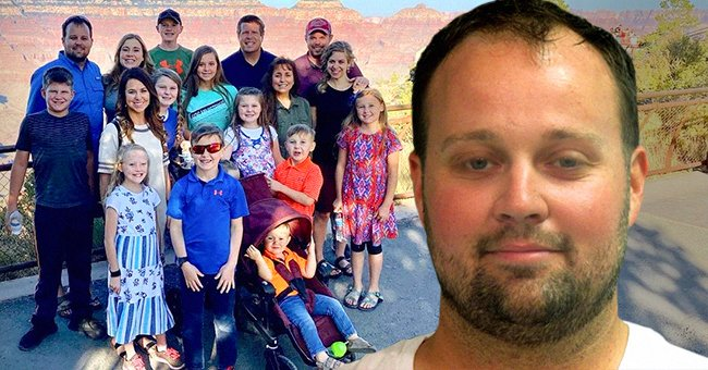 The Duggar family on the left and the Josh Duggar's Mugshot on the right   Photo: instagram.com/duggarfam + Getty Images