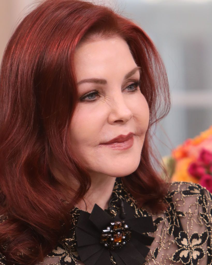 "Priscilla Presley visits Hallmark Channel's ""Home & Family"" at Universal Studios Hollywood on February 18, 2020, in Universal City, California 