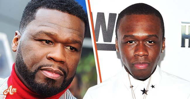 """A picture collage of Curtis """"50 Cent"""" Jackson and his son Marquise 