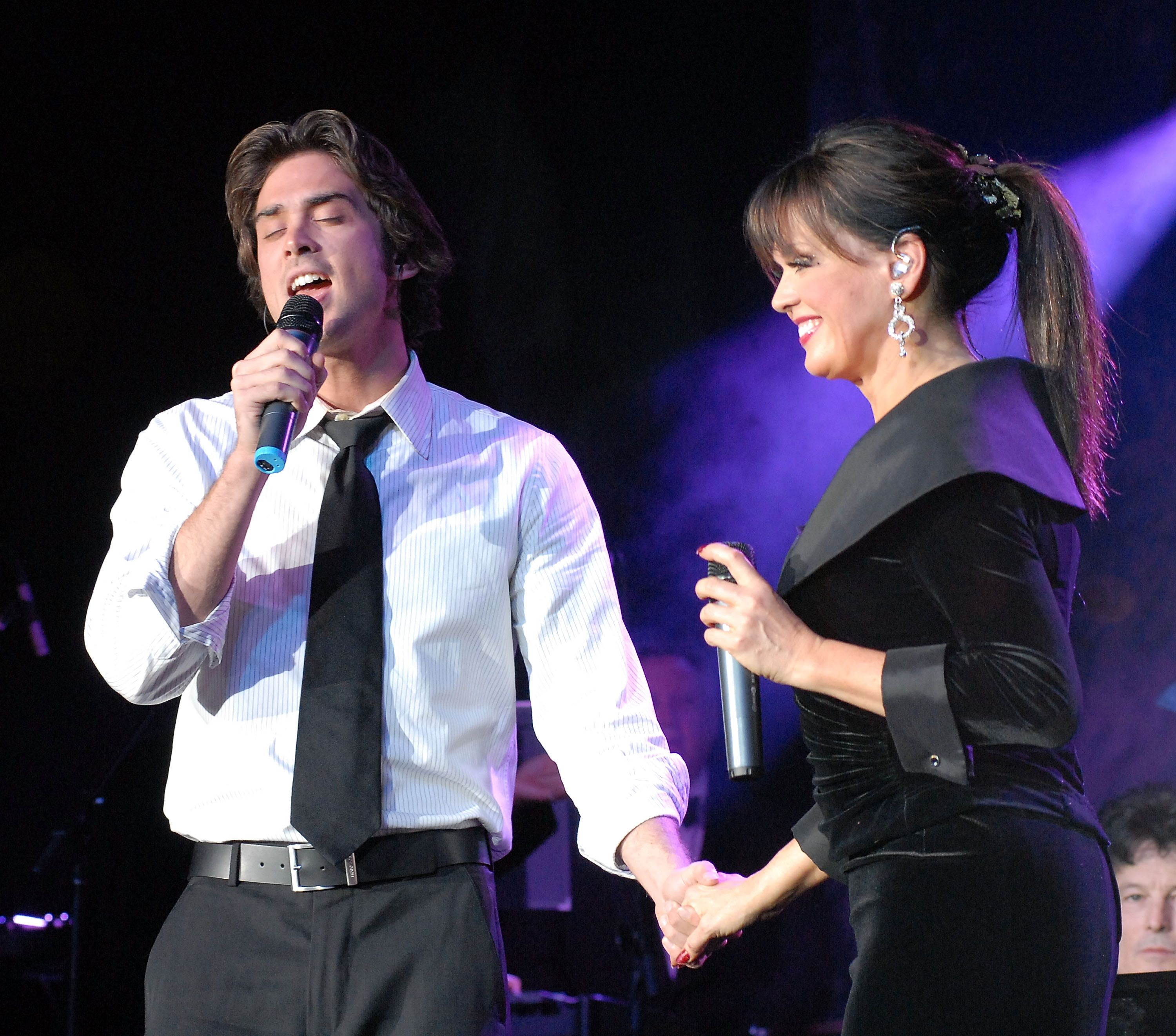 Stephen Craig Jr. and mother Marie Osmond perform together at the Marie Osmond's Magic of Christmas show at Trump Marina on December 1, 2007 at Atlantic City, New Jersey   Source: Getty Images
