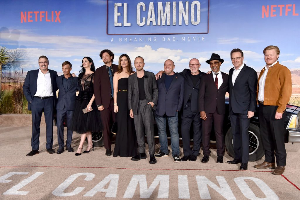 """The cast at the Premiere of Netflix's """"El Camino: A Breaking Bad Movie"""" at Regency Village Theatre on October 07, 2019 in Westwood, California.   Photo: Getty Images"""