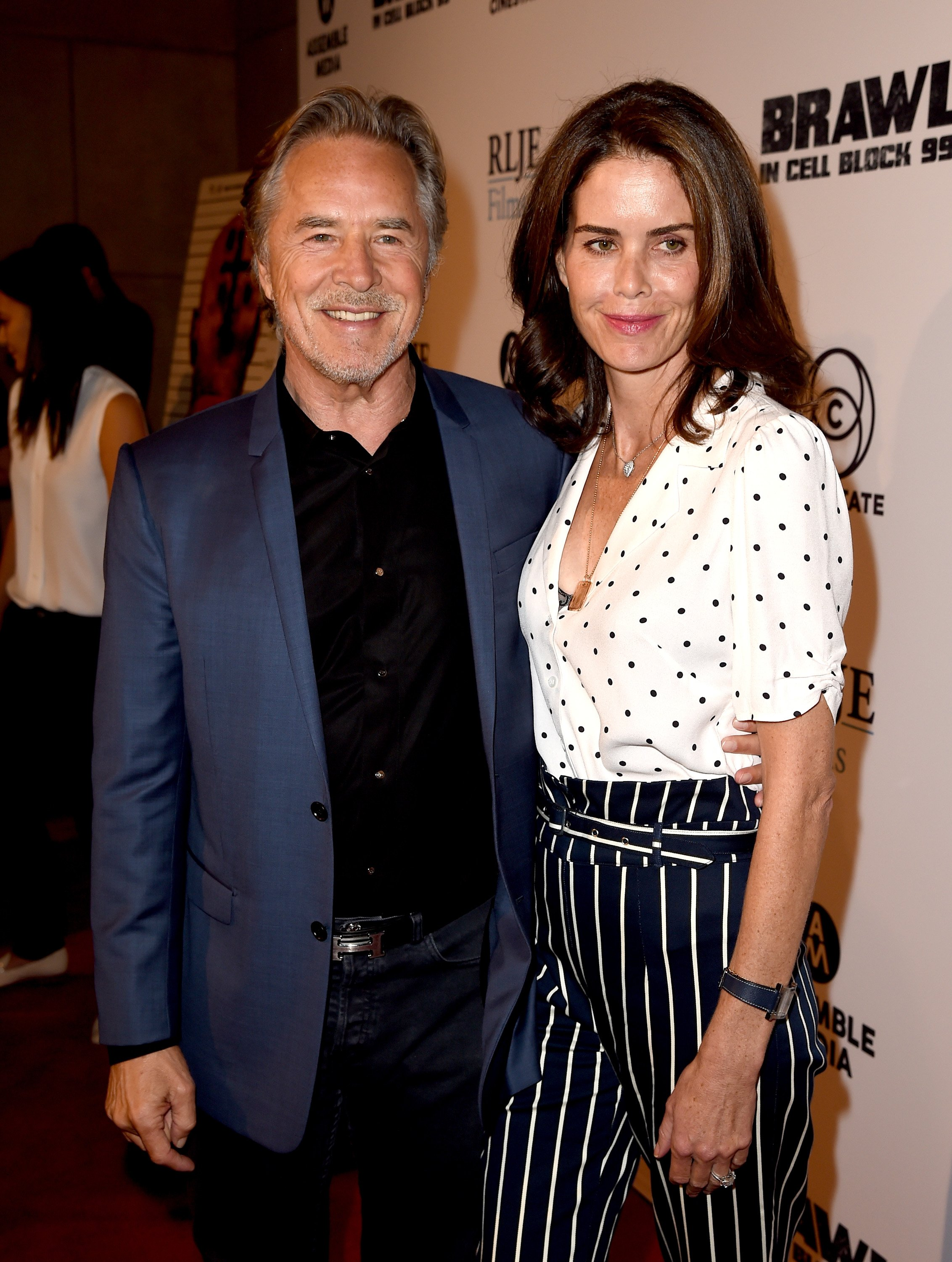 "Don Johnson and wife Kelley Phleger attend the premiere of ""Brawl In Cell Block 99"" in Los Angeles on September 29, 2017 