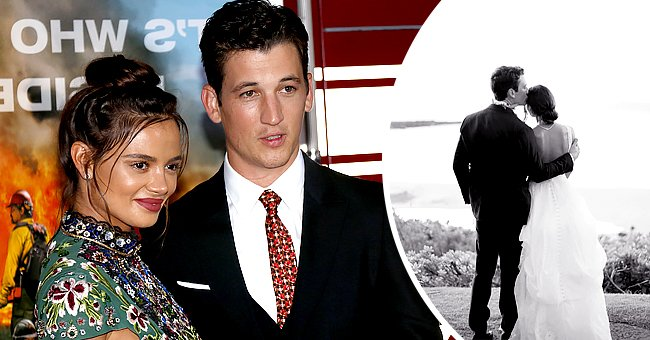 Actor Miles Teller and model Keleigh Sperry at the Los Angeles premiere of 'Only The Brave' held at the Regency Village Theater on October 8, 2017 in Westwood Los Angeles, the next photo shows the couple on their wedding day | Photo: Shutterstock and Twitter/@Miles_Teller