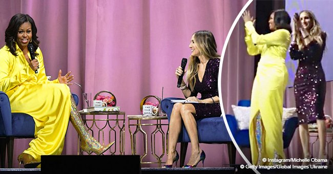 Michelle Obama shows off her dance moves on stage with Sarah Jessica Parker in new video