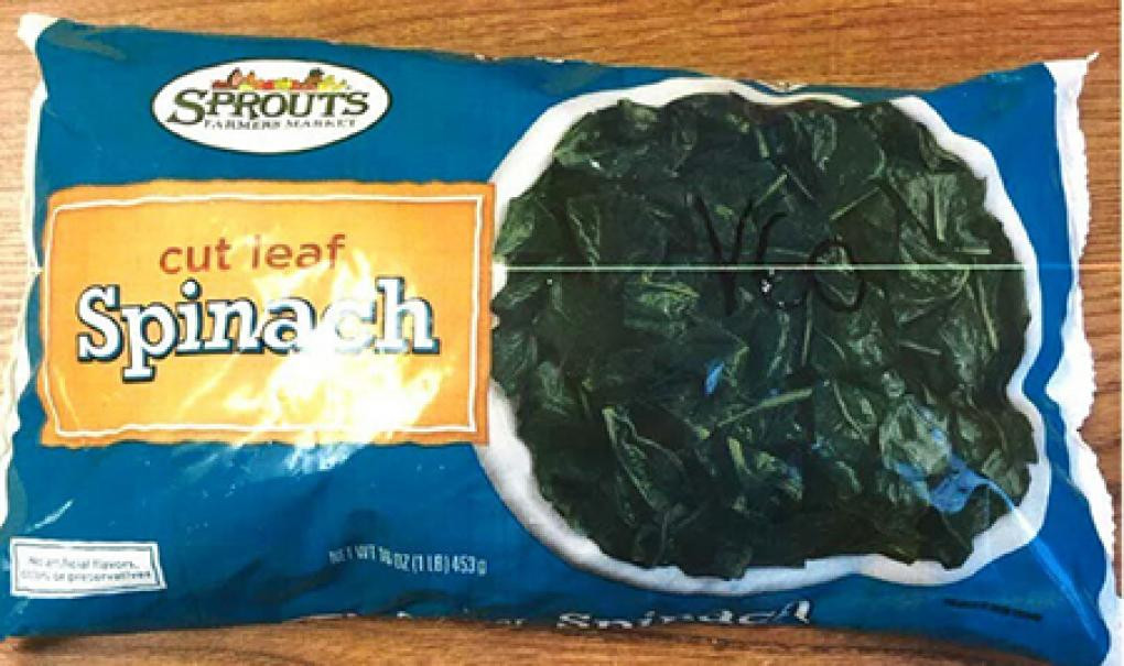 The front of the 16oz packets of Spouts Cut Leaf Spinach. Photo: FDA.