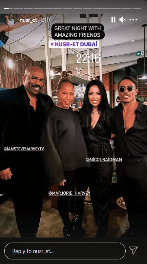 A picture  of Steve and Marjorie Harvey with friends at a restaurant at Dubai, UAE   Photo: Instagram/nusr_ret