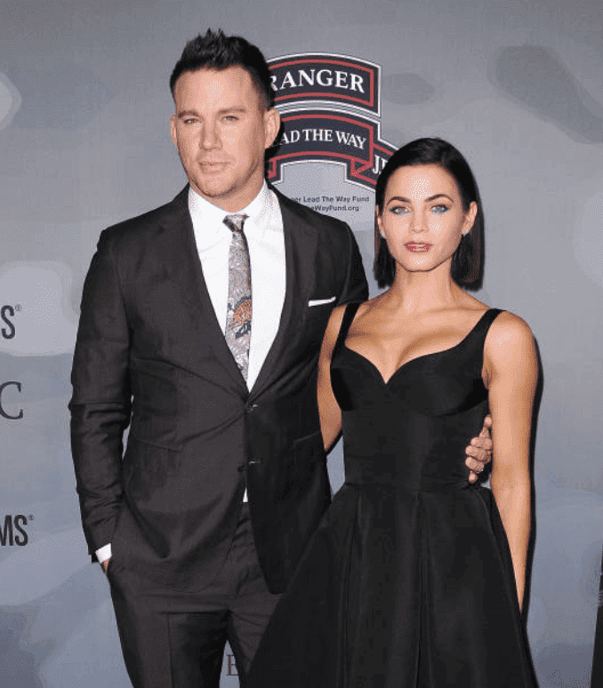 """Channing Tatum and Jenna Dewan Tatum pose side-by-side on the red carpet for the premiere of """"War Dog: A Soldier's Best Friend,"""" on November 6, 2017 in Los Angeles, California 