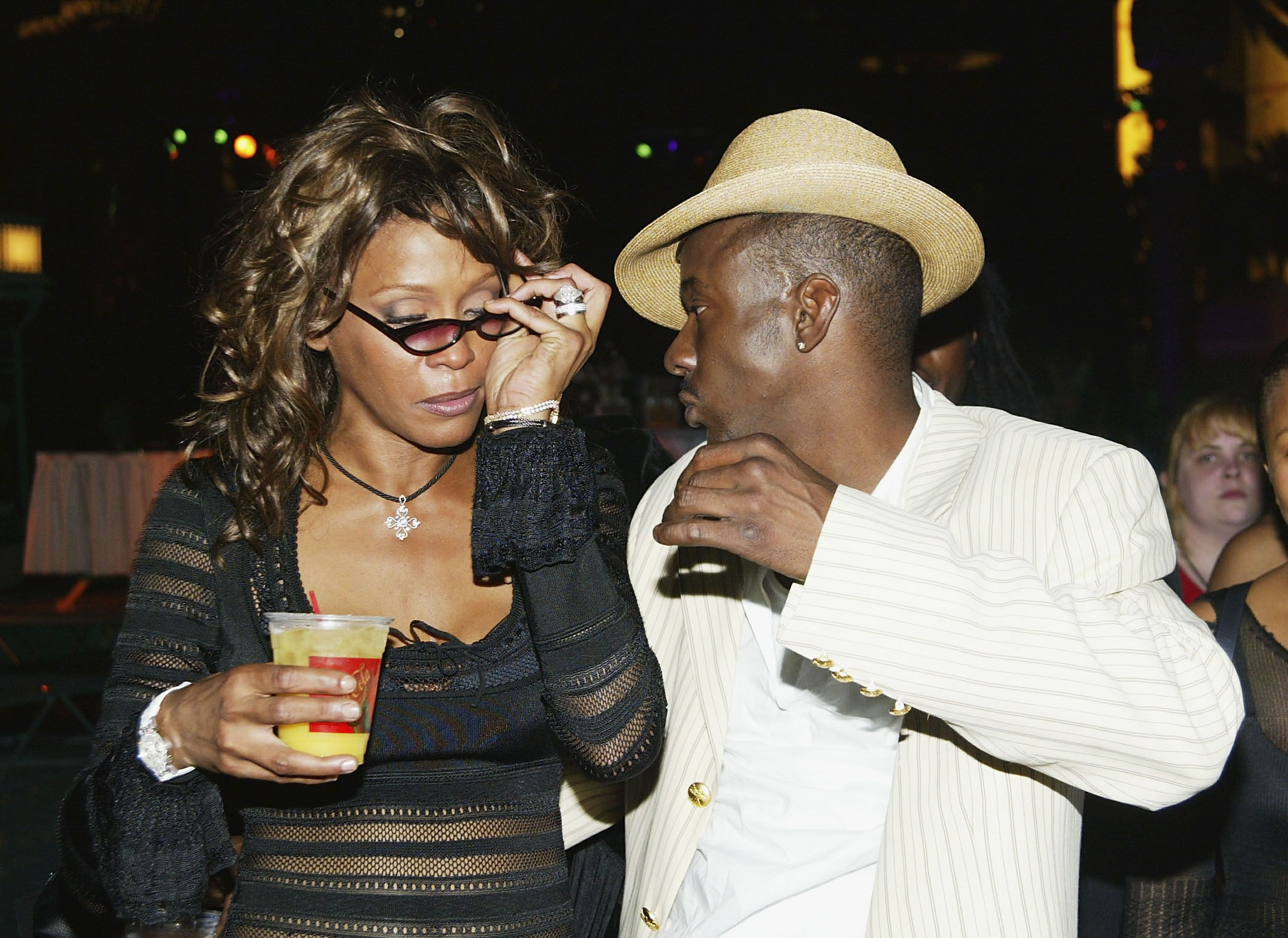 A visibly inebriated Whitney Houston with husband Bobby Brown at  the vh1 Save The Music foundation after-party/ Source: Getty Images