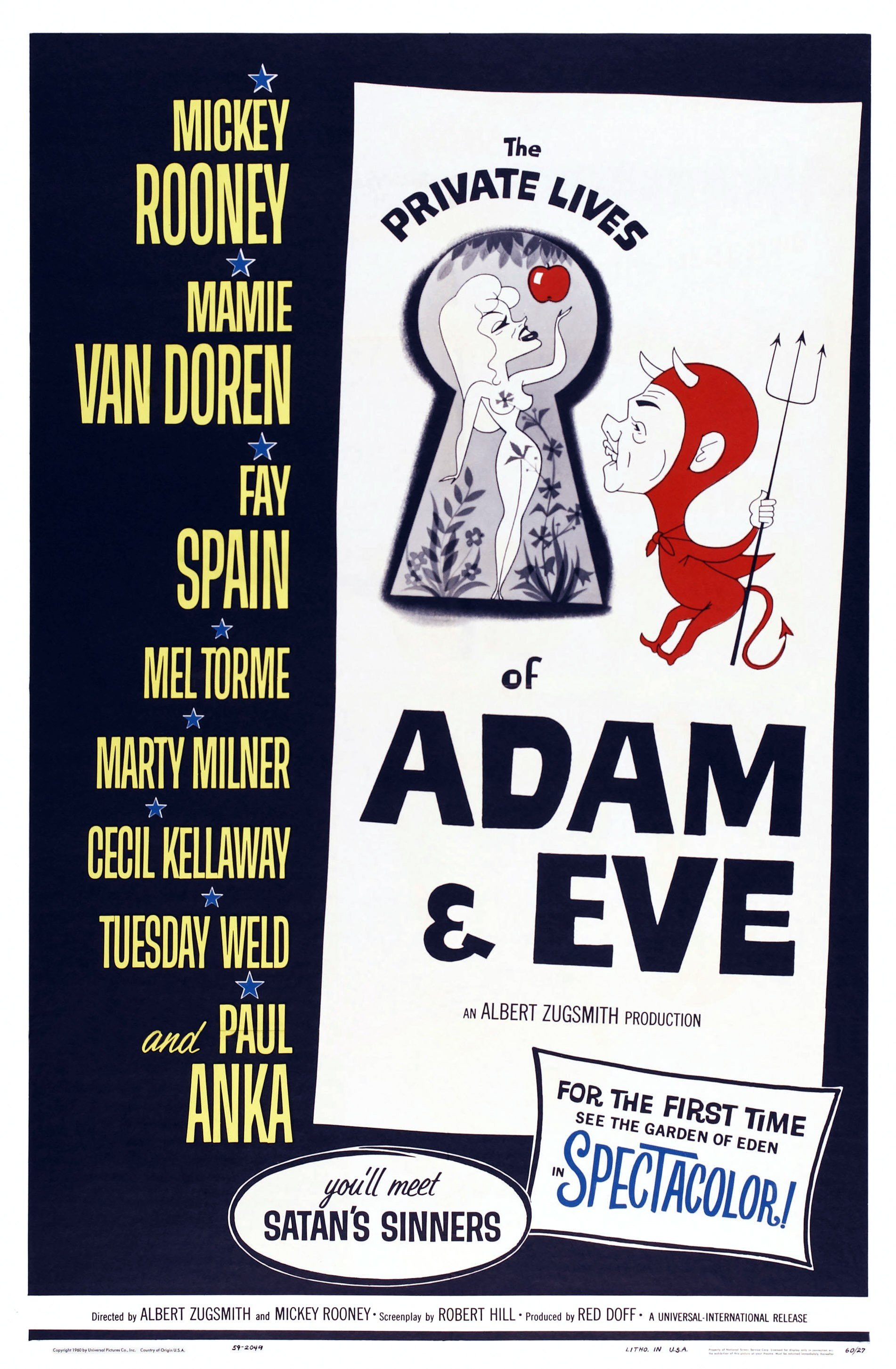 """The poster for """"The Private Lives Of Adam And Eve"""", another film Nancy Bacon starred in, 1960 