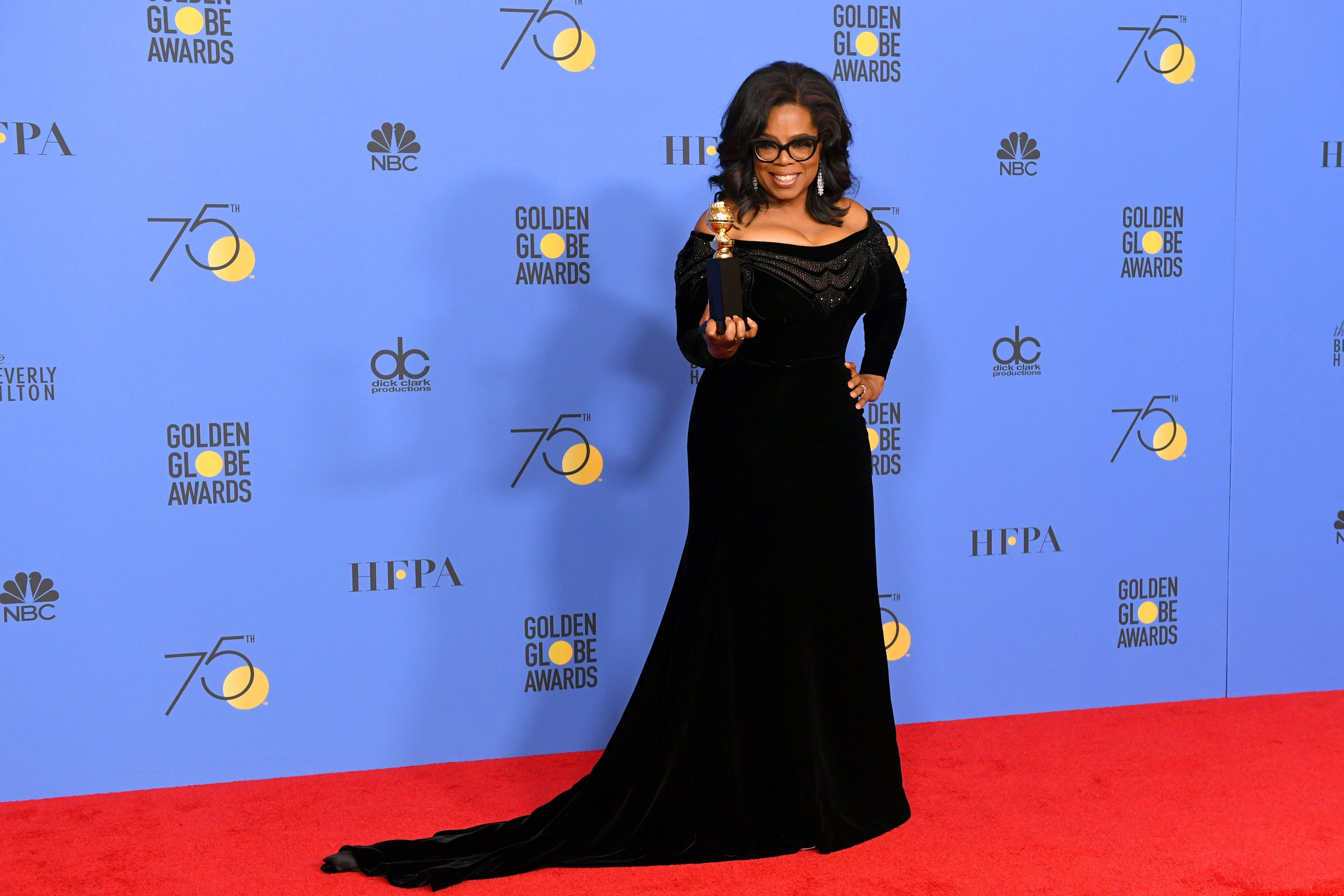 Oprah Winfrey poses with the Cecil B. DeMille Award in the press room during The 75th Annual Golden Globe Awards at The Beverly Hilton Hotel on January 7, 2018 in Beverly Hills, California.   Source: Getty Images