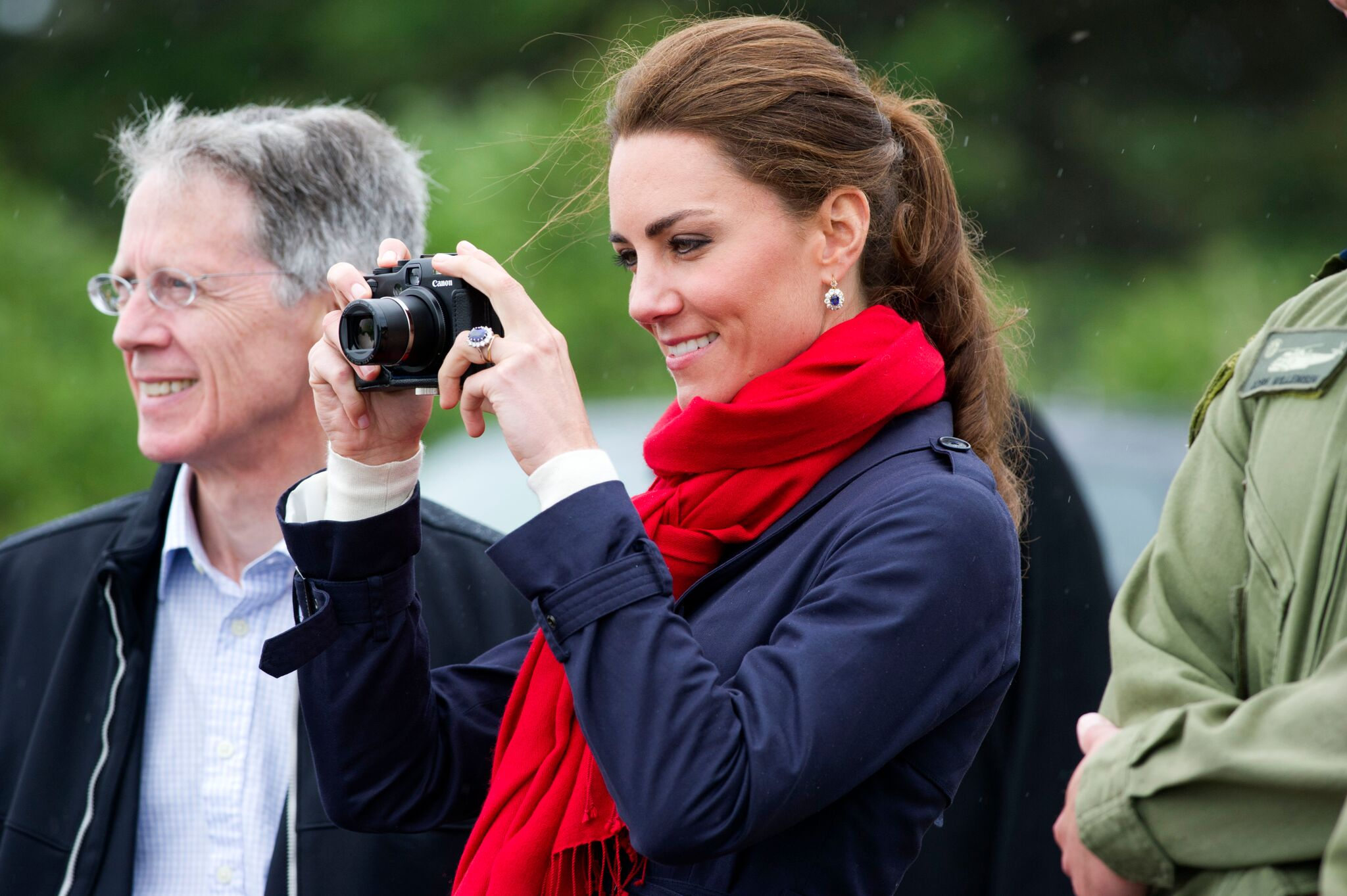 Duchess of Cambridge takes photographs as Prince William does helicopter maneuvers | Getty Images
