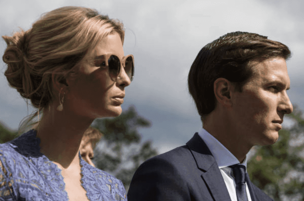 Ivanka Trump and her husband, Jared Kushner listen a joint press conference with President Donald Trump and Lebanon's prime minister, Saad Hariri, in  the White House Rose Garden, on Tuesday, July 25, 2017, Washington D.C. | Source: Zach Gibson/Bloomberg via Getty Images