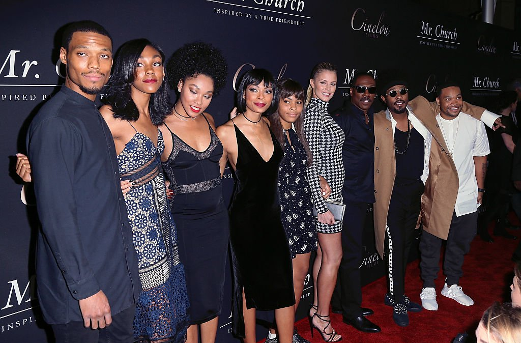 """Eddie Murphy (3rd from R), Paige Butcher (4th from R) and his children at the premiere """"Mr. Church"""" on September 6, 2016, in Hollywood 