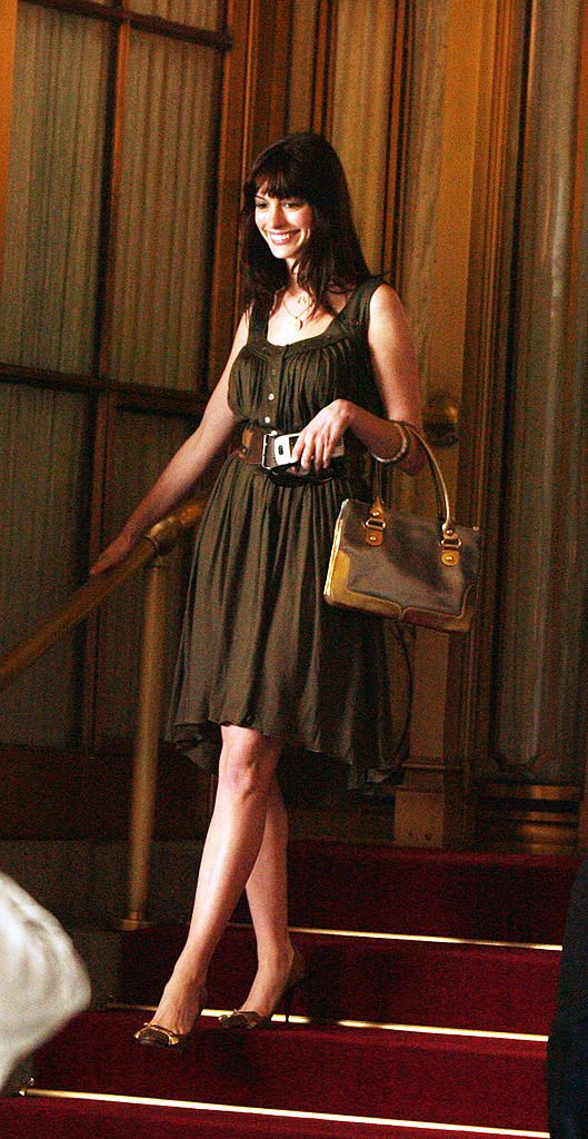 Anne Hathaway as Andy Sachs outside the St. Regis Hotel on October 19, 2005, in New York City   Source: Getty Images